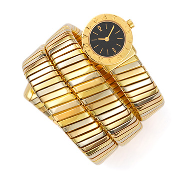 A Tri-colored Gold Wrist Watch, by Bulgari