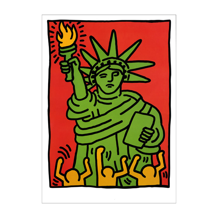 Statue of Liberty, by Keith Haring, 1986. Color screenprint. 37 5/8 x 27 1/2 in. Signed and dated 'K. Haring 86'. This work is from an edition of 100.