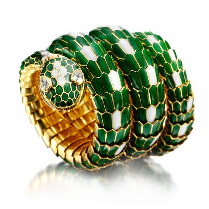 An Enamel and Gold 'Serpenti' Watch Bracelet, by Bulgari, circa 1966