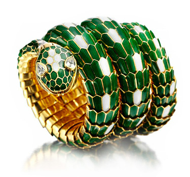 An Enamel And Gold 'Serpenti' Watch Bracelet, By Bulgari, Circa 1966