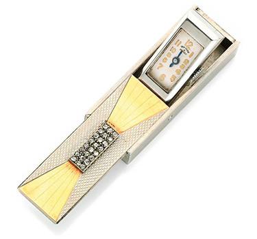 An Art Deco Gold, Diamond And Styptor Travel Clock, By Van Cleef & Arpels, Circa 1940