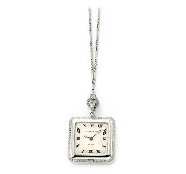 An Art Deco Diamond And Platinum Pendant Watch, By Tiffany & Co., Circa 1915