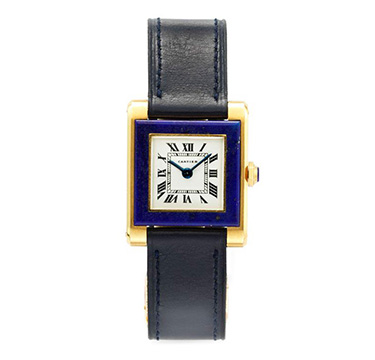 A Lapis Lazuli and Gold Wristwatch, by Cartier, circa 1960