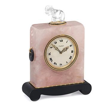 An Art Deco Rock Crystal, Quartz And Onyx Elephant Clock, By Cartier, Circa 1920