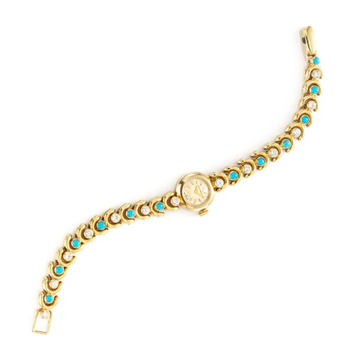 A Turquoise and Diamond Bracelet Watch, by Van Cleef & Arpels, circa 1960
