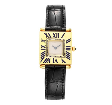 "A Gold And Enamel ""Quadrant"" Wristwatch, By Cartier"