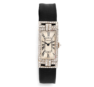 An Art Deco Diamond And Platinum Wristwatch, By Cartier, Circa 1925