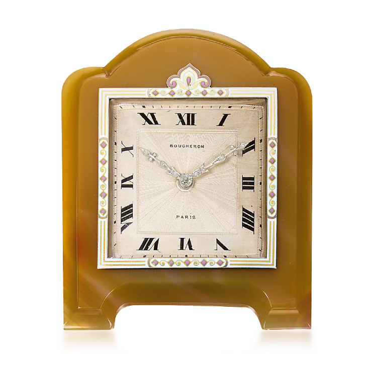Art Deco Enamel and Agate Clock, by Boucheron