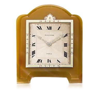Art Deco Enamel And Agate Clock, By Boucheron