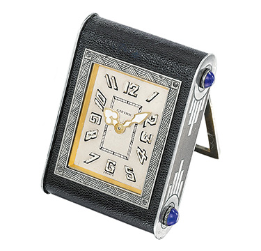 An Art Deco Multi-gem and Leather Travel Clock, by Cartier