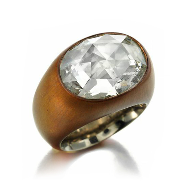 A Rose-cut Diamond and Copper Ring, of approximately 7.00 carats, by Hemmerle