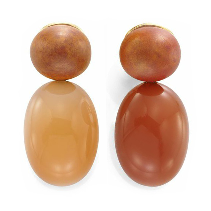 A Pair of Moonstone and Copper Ear Pendants, by Hemmerle
