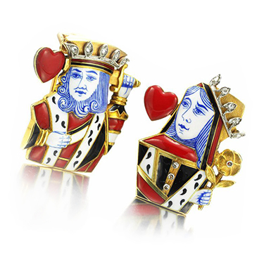 A Pair of Enamel and Gold 'King and Queen of Hearts' Pin Brooches, by Cartier, circa 1938