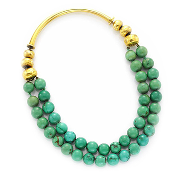 A Turquoise and Gold Double Strand Necklace, by Boivin, circa 1935