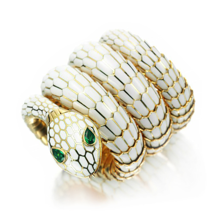 A White Enamel, Gold and Emerald 'Serpenti' Wristwatch, by Bulgari, circa 1965