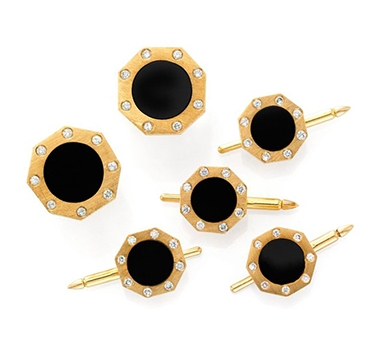 An Onyx, Diamond And Brushed Gold Dress-set
