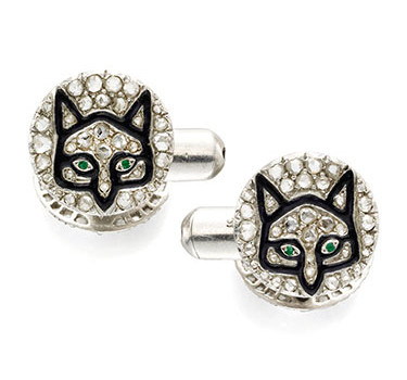 A Pair Of Emerald, Enamel And Diamond Cufflinks, By Charles Holl, Circa 1920