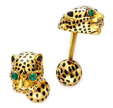 A Pair of Emerald, Enamel and Gold Tiger Cufflinks, by David Webb