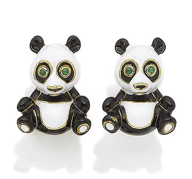 A Pair Of Enamel Panda Cufflinks, By David Webb