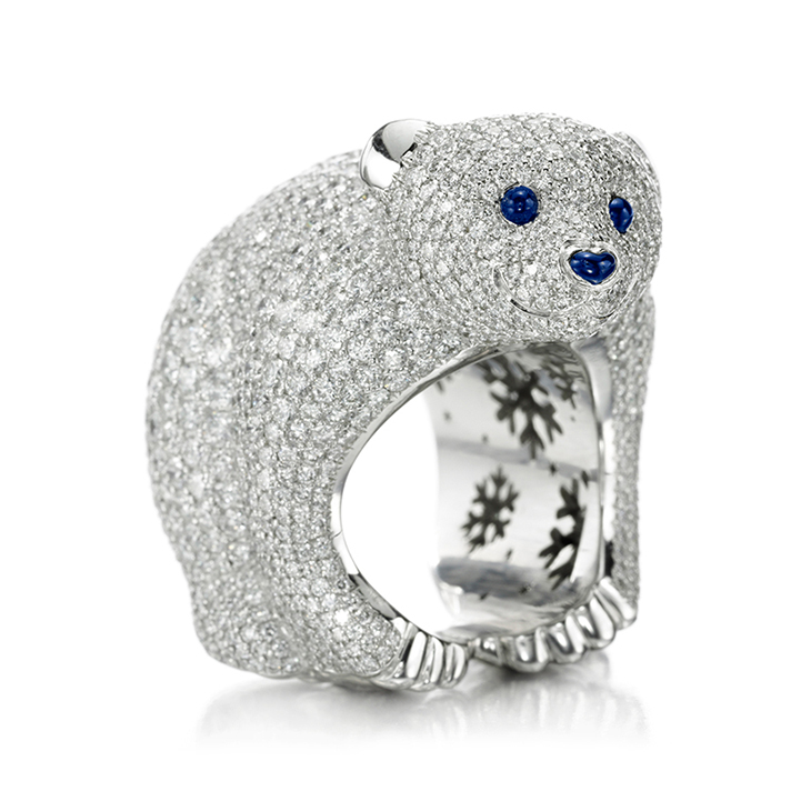 A Limited Edition Diamond Polar Bear Ring, of 10.45 carats, by Chopard