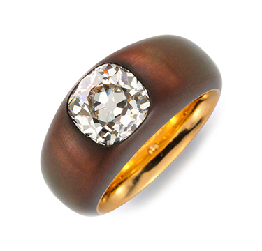 A Cushion-cut Diamond And Copper Ring, Of 3.39 Carats, By Hemmerle