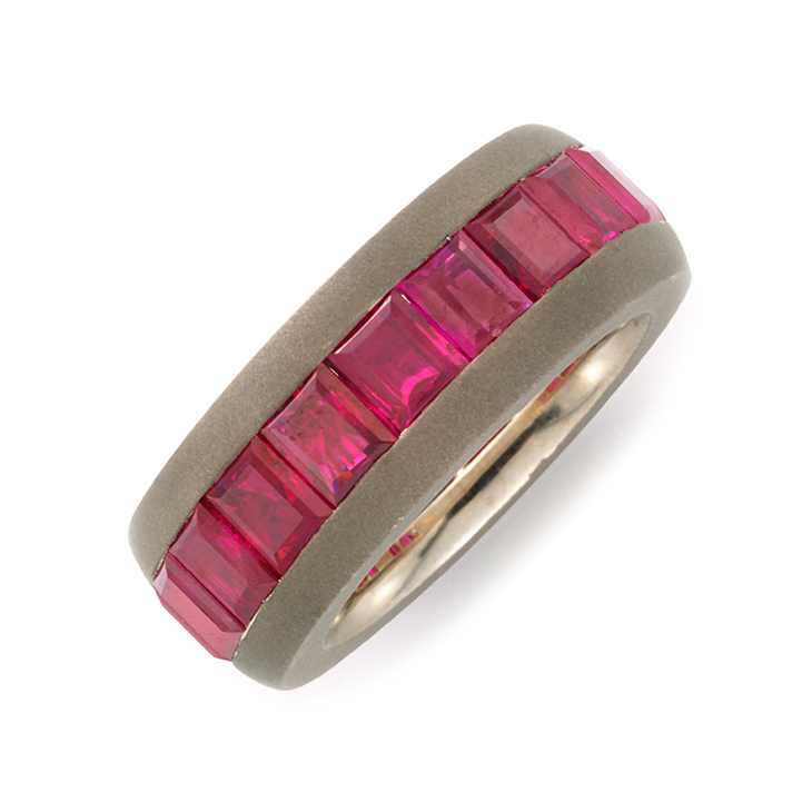 A Ruby and Sandblasted Copper Band Ring, by Hemmerle