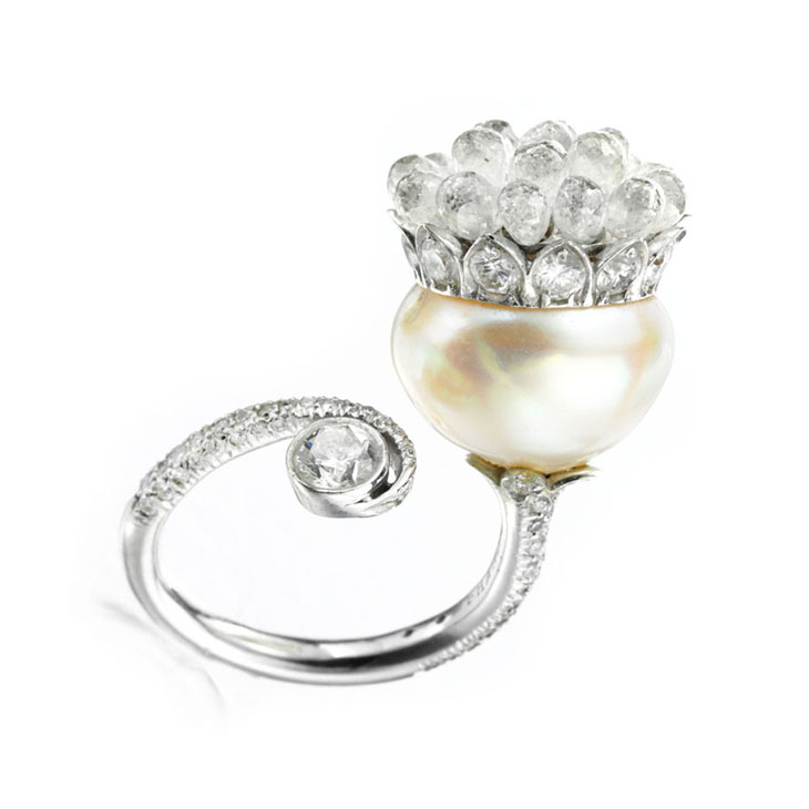 A Natural Pearl and Diamond Ring, by Bhagat