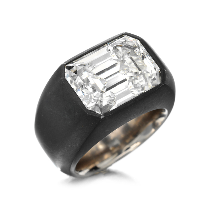 A Rectangular-Cut Diamond and Iron Ring by Hemmerle