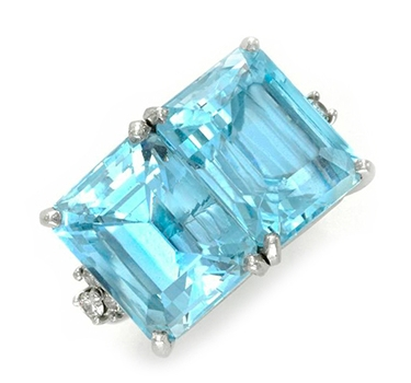 An Aquamarine And Diamond Twin-stone Ring, By Cartier, Circa 1950