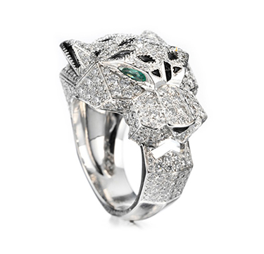 A Diamond, Onyx and Emerald Panther Ring, by Cartier, circa 2008