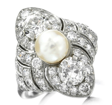 An Art Deco Pearl And Diamond Ring, By Cartier, Circa 1920
