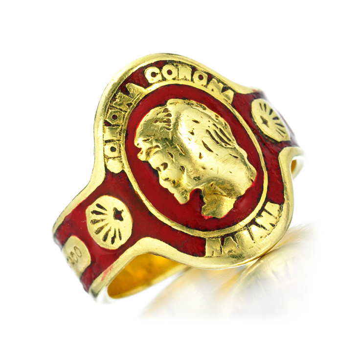 An Enamel and Gold Cuban Cigar Band Ring, by Cartier, circa 1970