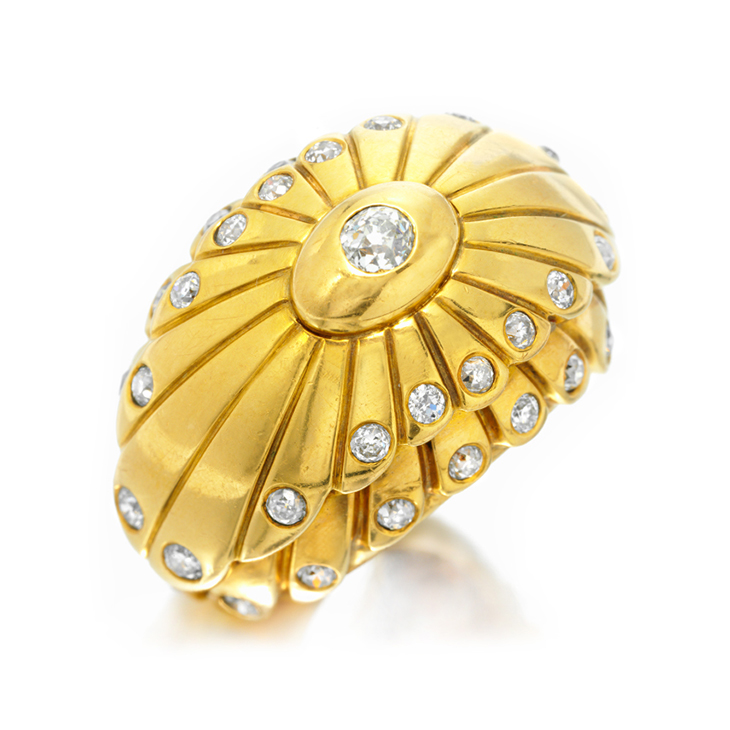 A Gold and Diamond Dome Ring, by Cartier