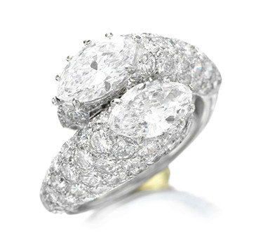 A Diamond And Platinum Crossover Ring, By Cartier