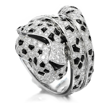 An Onyx And Diamond Panther Ring, By Cartier
