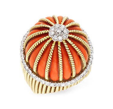 A Coral and Diamond Ring, by Cartier