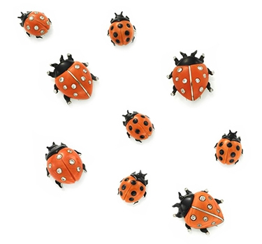 A Set Of Enamel, Diamond And Coral Ladybug Pins, By Cartier, Circa 1960