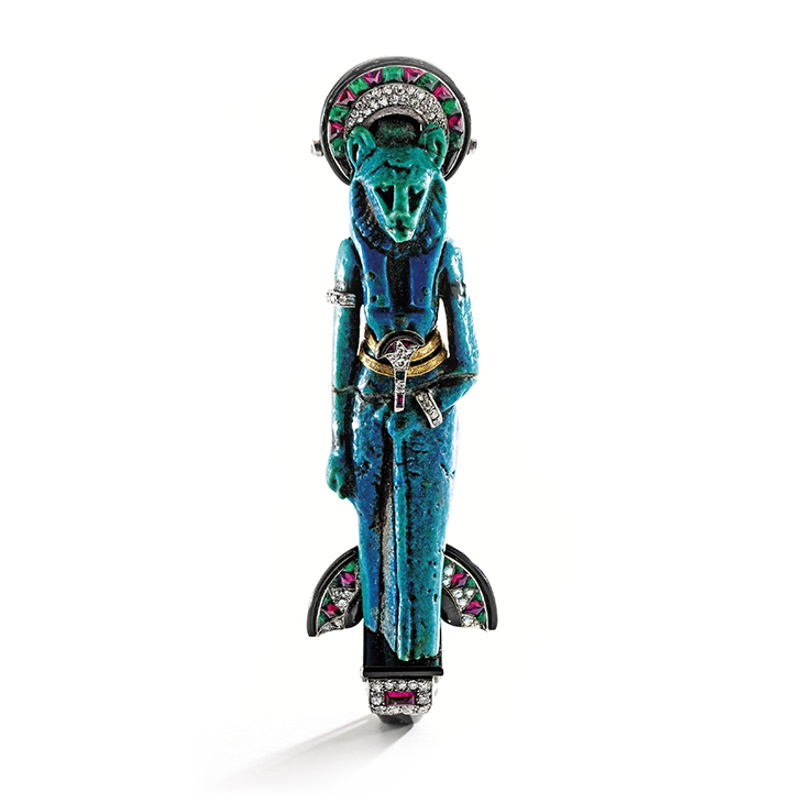 A Colored Stone, Diamond and Enamel Faience 'Sekhmet' Brooch, by Cartier, circa 1925