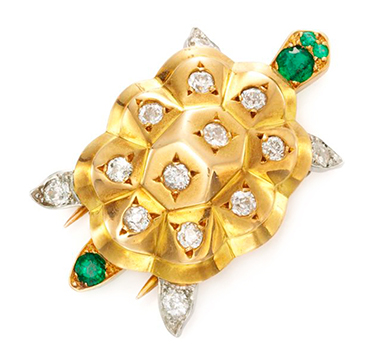 An Emerald and Diamond Turtle Brooch, by Cartier, circa 1950