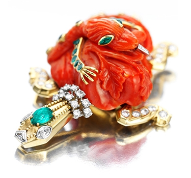 A Carved Coral, Emerald And Diamond Turtle Brooch, By Cartier, Circa 1960