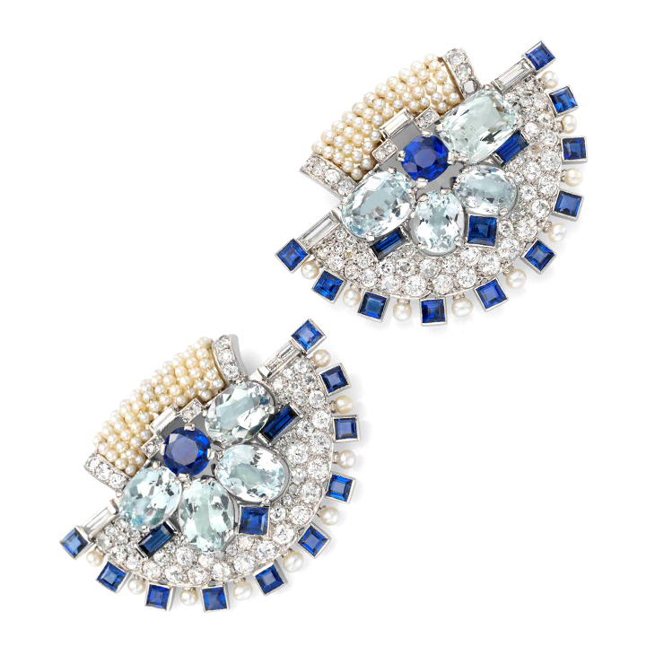 A Pair of Art Deco Natural Pearl, Sapphire and Diamond Clip Brooches, by Cartier, circa 1930