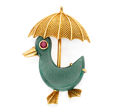 A Ruby and Aventurine Quartz Duck Brooch, by Cartier, circa 1960