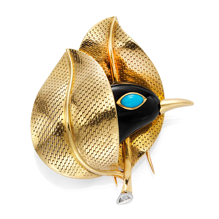 A Turquoise and Gold Bird Brooch, by Cartier