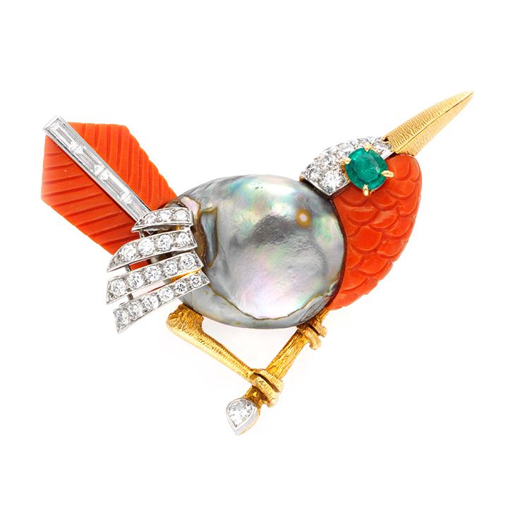 A Multi-gem and Diamond Bird Brooch, by Cartier, circa 1955