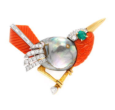 A Multi-gem and Diamond Bird Brooch, by Cartier, circa 1955