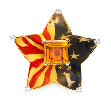 A Citrine, Enamel And Gold 'Patriotic' Brooch, By Cartier