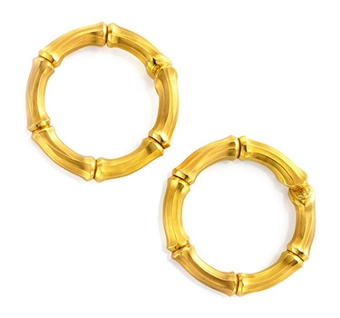 A Pair Of Gold Bamboo Oversized Hoop Ear Clips, By Cartier, Circa 1970