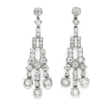 A Pair Of Art Deco Diamond Ear Pendants, By Cartier, Circa 1915