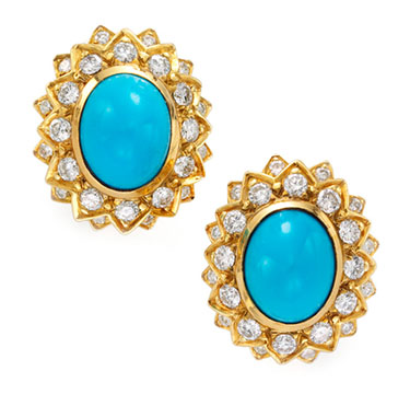 A Pair of Turquoise and Diamond Ear Clips, by Cartier, circa 1960