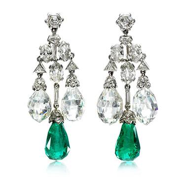 A Pair Of Art Deco Emerald And Diamond Ear Pendants By Cartier Circa 1928